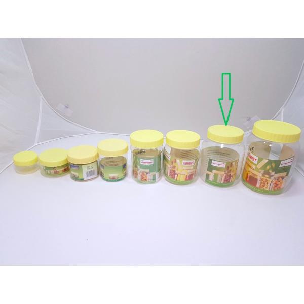 برطمانات بلاستيك شفاف بغطاء اصفر مقاس 750مل (96حبه)بالكرتون