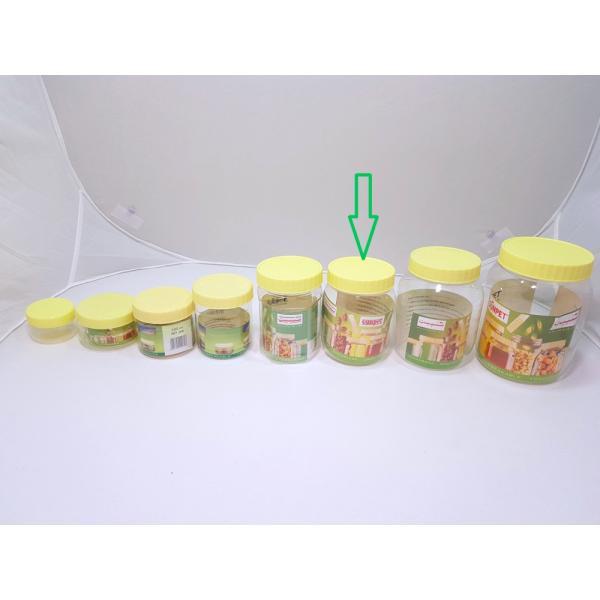 برطمانات بلاستيك شفاف بغطاء اصفر مقاس 500مل (144حبه) بالكرتون