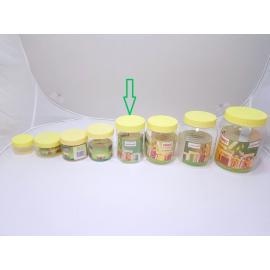 برطمانات بلاستيك شفاف بغطاء اصفر مقاس 400مل (144حبه) بالكرتون