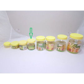 برطمانات بلاستيك شفاف بغطاء اصفر مقاس 300مل (288حبه) بالكرتون