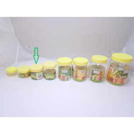 برطمانات بلاستيك شفاف بغطاء اصفر مقاس 250مل (288حبه) بالكرتون